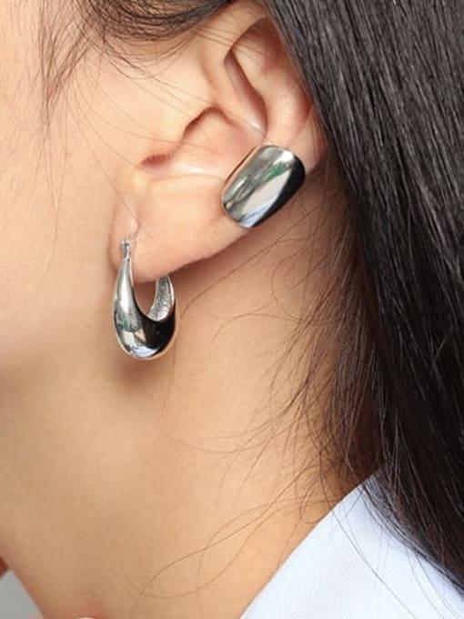 DAKA 925 Sterling Silver Geometric Hip Hop [Single] Stud Earring 2